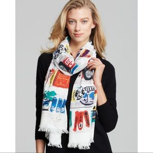 kate spade ♠️ library illustration scarf